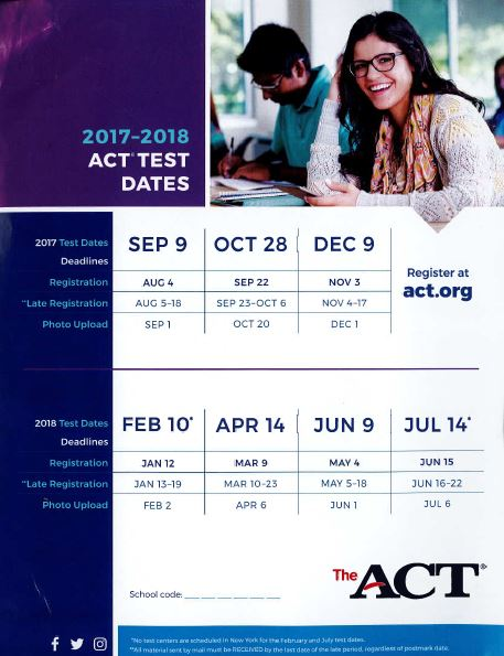 ACT Dates flyer