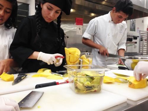 Students preparing a dish