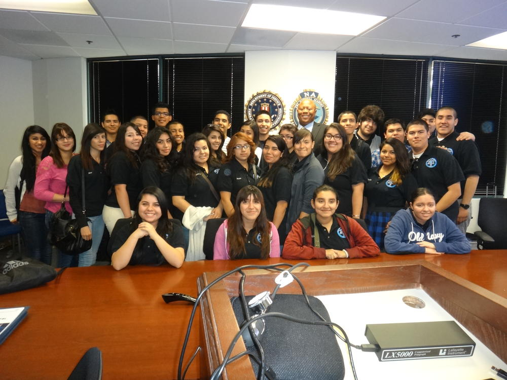 Picture of Pals students in West Covina FBI office